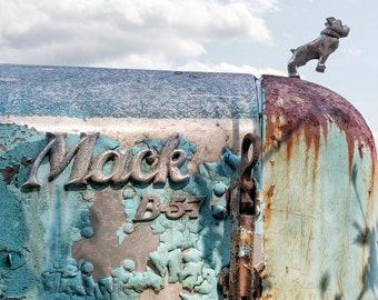 Truck Photography, Vintage Mack, Print or Canvas Gallery Wrap, Classic Auto, Urban Decay, Antique, Rustic Print, Farmhouse Art - Mack B57