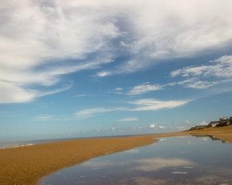 Beach Photograph, Ocean Print, Nautical Wall Decor, Water, White Clouds, Reflection, Sand, Summer  - Blue Skies