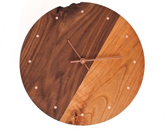 Two Toned Wooden Wall Clock - Walnut and Cherry paired with Copper