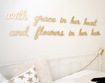 With grace in her heart and flowers in her hair - custom set of signs for modern decor