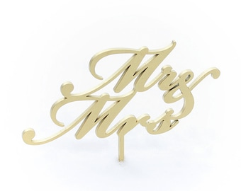 SALE Mr and Mrs wedding cake topper in white, gold, black and maple