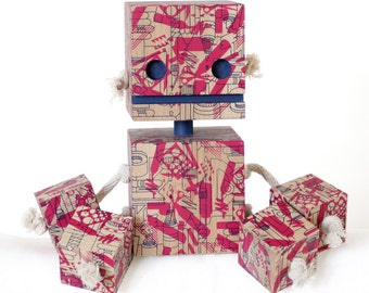 Graphic Designer Camo Block Bot - Limited Edition Screen Printed Wood Toy Robot Sculpture