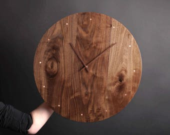 XL Solid Wood Wall Clock - walnut maple oak or cherry