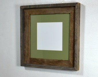 d34d9a9ae11 Picture frame reclaimed wood sage green 6x6 mat 10x10 without mat