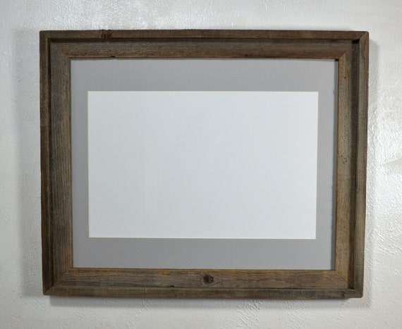 11x17 Gray Matted Poster Frame Rustic Reclaimed Wood With Etsy