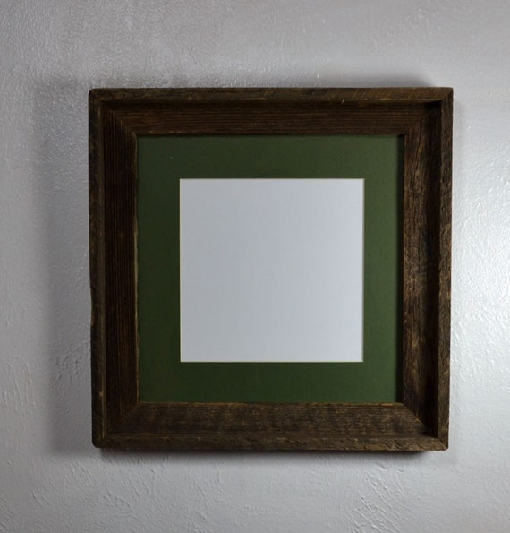 8x8 Green Mat In 12x12 Rustic Reclaimed Wood Picture Frame Etsy