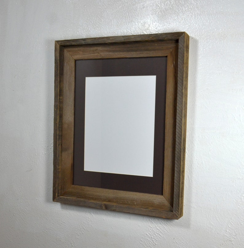 Picture Frame 85x11 Dark Brown Mat From Rustic Reclaimed Etsy