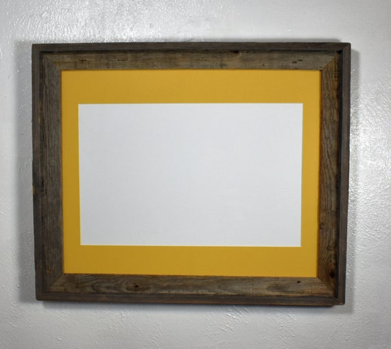 Poster Frame Reclaimed Wood 11x17 Yellow Mat 20 Mat Color Options