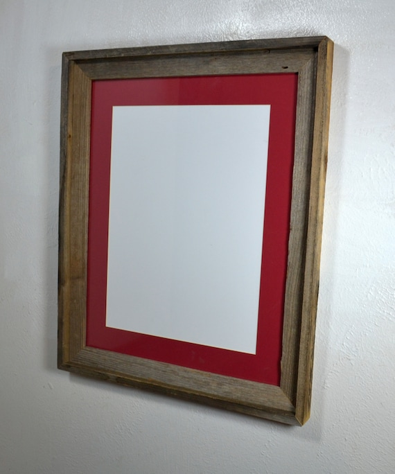 Poster Frame Brown Reclaimed Wood 12x16 Red Mat 20 Mat Colors 11x14 11x17 12x16 Or 12x18 Mat Options