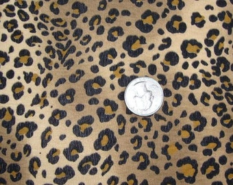 NEW Tan and Brown Leopard Cotton Rib Knit Fabric 1 YD