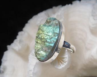 Iridescent Rough Labradorite Ring Size 9.25