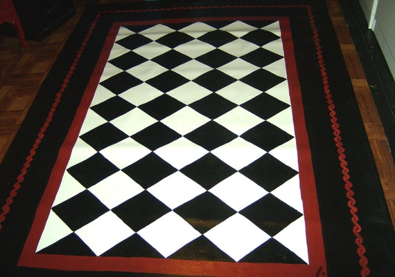 Floorcloth Black And White Diamond Pattern Hand Painted Rug Etsy