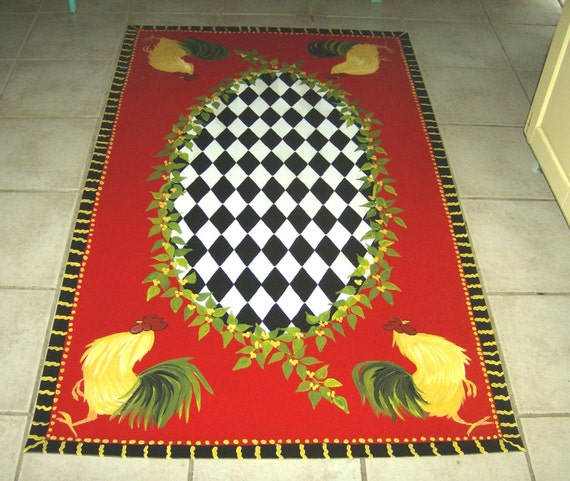 French Country Rooster Floorcloth Red Black And White Etsy