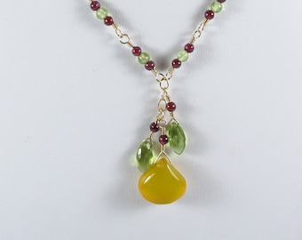 Tropical Garden Necklace - Garnets and Peridot with a Yellow Chalcedony Drop, 14k Gold Filled, January, August Birthstones