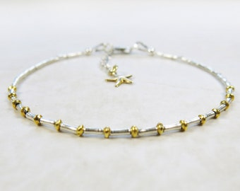 Mixed Metals Bracelet - Tiny Hill Tribe Fine Silver Tube Beads, 22k Gold Vermeil Rondelles, Starfish Charm