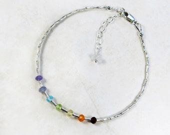 Rainbow Chakra Bracelet - Multicolor Gemstones, Karen Hill Tribe Fine Silver Beads
