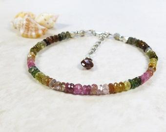 Rainbow Tourmaline Bracelet - Faceted Gemstone Rondelles, Fine and Sterling Silver, Adjustable