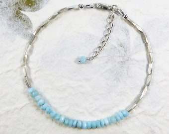 Larimar Stacking Bracelet - Faceted Caribbean Blue Gemstone Rondelles and Hill Tribe Fine Silver Beads