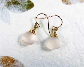 Peach Chalcedony Earrings - Wire Wrapped Faceted Briolette Drops, 14k Gold Filled, Gifts for Girls