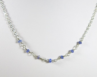 Dainty Tanzanite Necklace - Faceted Gemstones on Handmade Sterling Silver Chain Links