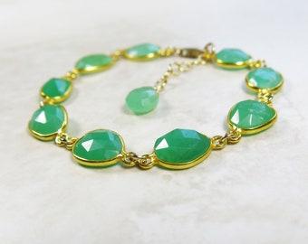 Chrysoprase Gold Bracelet - Natural Green Faceted Semiprecious Gemstones in 22k Vermeil Settings