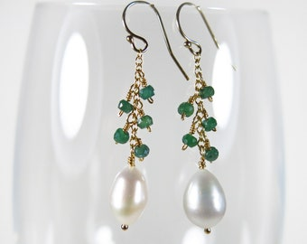 Emerald Pearl Earrings - Genuine Emeralds and White Freshwater Pearl Drops, 14k Gold Filled, May and June Birthstones