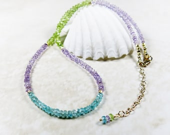 Colorful Gemstone Necklace - Apatite, Amethyst, Peridot, 22k Gold Vermeil Beads