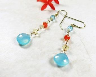 Multicolor Gemstone Earrings - Apatite, Carnelian, Citrine, Chalcedony, 14k Gold Filled