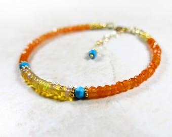 Colorful Gemstone Bracelet - Golden Ethopian Welo Opals, Turquoise, Carnelian, 14k Gold Filled
