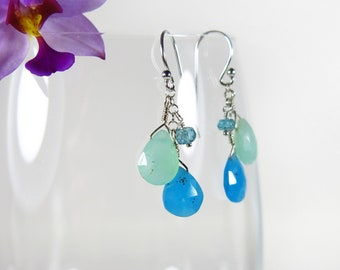 Chrysoprase Hemimorphite Earrings - Faceted Blue and Green Gemstones, Sterling Silver