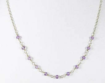 Amethyst Chain Necklace - Faceted Gemstones and Sterling Silver, February Birthstone