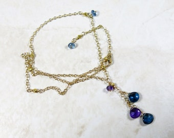 Topaz Amethyst Necklace - London Blue Topaz, Amethyst and 22k Thai Hill Tribe Gold Vermeil Beads on 14k Gold Filled Chain