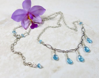 Aqua Gemstone Necklace - Faceted Apatite Drops on Antiqued, Textured Oval Chain, Sterling Silver