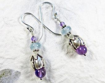 Flower Garden Earrings - Amethyst, Aquamarine, Bali Beads and Karen Hill Tribe Fine Silver Bead Caps