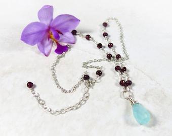 Chalcedony Garnet Necklace: Dainty Aqua Chalcedony and Garnet Sterling Silver Drop Necklace, January Birthstone
