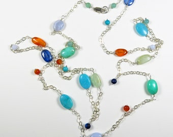 Long Multicolor Necklace - Colorful Gemstones, 36 Inches, Sterling Silver