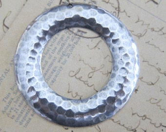 Large Silver Hammered Hoop Charm 3343