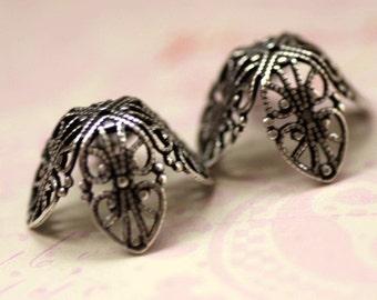 2 Silver Filigree Bead Caps 1699