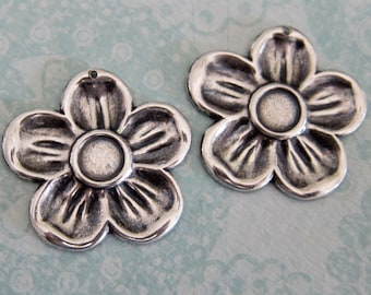 2 Large Silver Flower Charms 3268