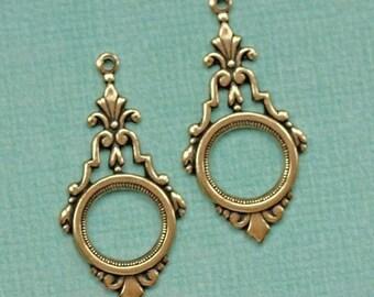 2 Antique Brass Open Drop Charms 1830B