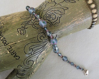 Crystal and Glass Beaded Bracelet - Sterling Silver