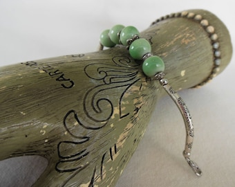 Ceramic Bead Silver Tone Bracelet