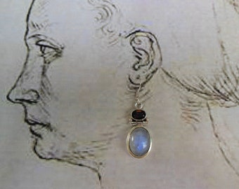 Garnet and Moonstone Sterling Silver Earring