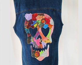 Vintage Jeans Vest with Collage Quilted Skull Design