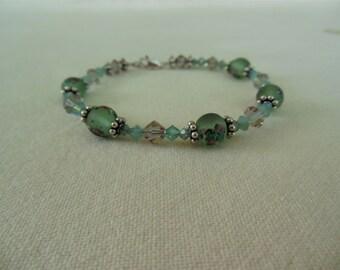 Crystal Bead Bracelet Sterling Silver - Mint Green