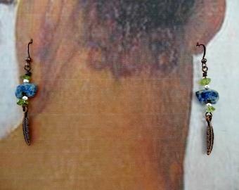 Lapis Lazuli Zuni Bear and Peridot Earrings