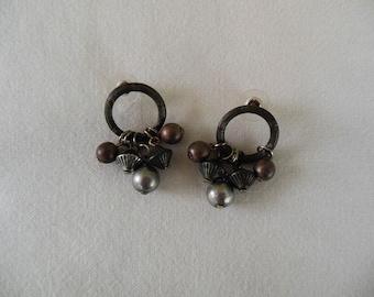 Mixed Metal Tone Post Earrings