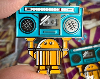 Limited Edition Robot Enamel Metal Pin - Say Anything Boombox Bot - by Cindy Thornton