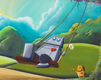 5x7 Fine Art Pearlescent Print - The Swing - two robots, happy day - Cindy Thornton Art