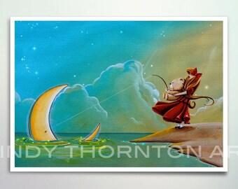 5x7 Fine Art Pearlescent Print - The Catch - girl and bear go moon fishing - Cindy Thornton Art